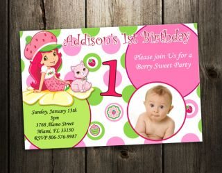 Shortcake BIRTHDAY PARTY INVITATION TICKET CARD CUSTOM INVITES 1ST