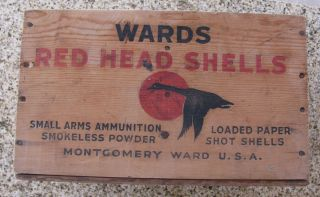 VINTAGE ORIGINAL MONTGOMERY WARD RED HEAD SHELL WOOD AMMO BOX 12 GA