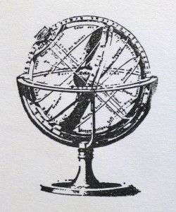 EZ Mounted Rubber Stamp Antique Globe Sphere Old World Desk Map Travel