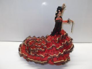Vintage Marin Spanish Flamenco Dancer Doll 12 Tall Lady w Red Dress