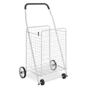Lightweight Folding Rolling White Utility Basket Grocery Cart 4 Wheel