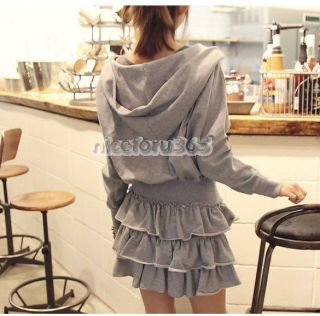 Korean Womens Slim Fit Hooded Bat Sleeve Hoodie Coat Flounced Skirt