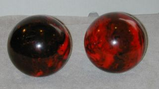 Vtg Pr Hawthorne Duck Pin Bowling Balls Red & Black Marble Swirl Color