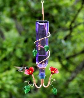 Purple Glass Hummingbird Nectar Feeder   Copper Feeding Tubes  Perry