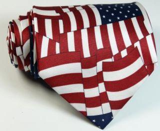 US USA American Flag Patriotic Silk Neck Tie Mens Necktie