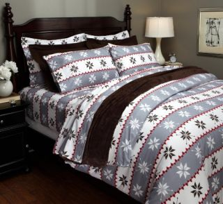 Printed Cotton Flannel Full Queen Duvet Cover Swiss Bliss Gray