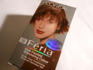 NEW !! LOreal Feria Hair Color 59 Hot Toffee   Rich Golden Brown