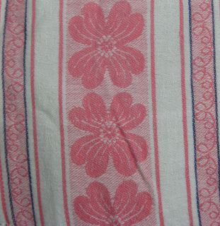 Vintage Cotton Pink Floral Tablecloth Estate Find