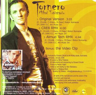 Tornero Mihai Traistariu Eurovision Athens 2006 Remixes Video SEALED