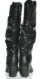 Forever 21 Sexy Womens Faux Leather Black Knee High Boots Retail $98