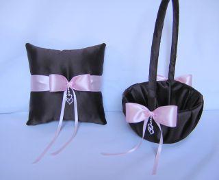 Brown Pink Flower Girl Basket Ring Bearer Pillow Custom