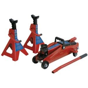 KC 2TFJK 2 Ton Hydraulic Floor Jack and Jack Stands Kit Cars