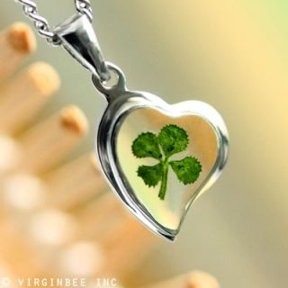 REAL CLOVER 4 LEAF SHAMROCK HEART IRISH LUCK CELTIC SILVER PENDANT