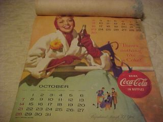 Antique Vintage 1956 Coca Cola Coke 4 Month Calendar