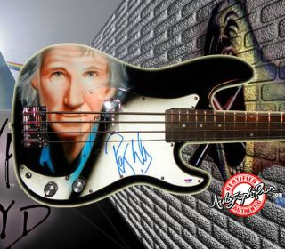 Pink Floyd Autographed Airbrush Roger Waters Bass Guitar PSA UACC RD