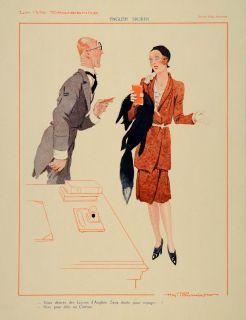 1930 French Print Art Deco Woman Fashion Hy Fournier   ORIGINAL