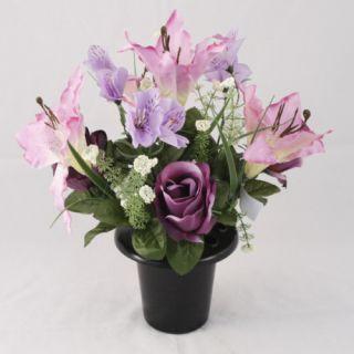 Artificial Silk Grave Flower Arrangement Lily Purple
