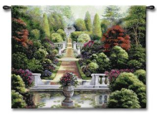 Floral Garden Park Walkway Trees Roses Art Tapestry Wall Hanging