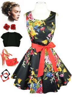 50s Style Black Floral Bouquet Print Scoop Neck Full Skirt Pinup Sun