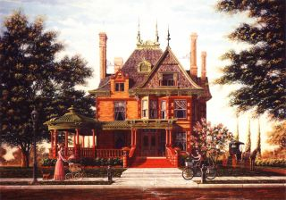 Victorian Queen Anne Fort Worth Texas McFarland Home Matted Art SIGNED