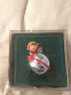 1981 HALLMARK KEEPSAKE ELF SILVER GLASS BALL CHRISMAS ORNAMEN