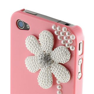 New Pink 3D Pearl Diamond Flower Hard Shell Cover Case for iPhone 4 4S