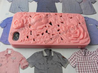 Latest 3D Embossed Carved Flowers Design Hard Case Cover for iPhone 4
