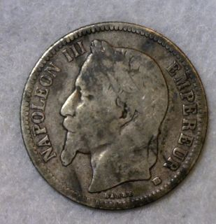 France 1 Franc 1866 BB French Silver Coin