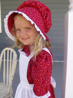 Girls Pioneer Costume Prairie Dress Colonial Civil War Red Choose your
