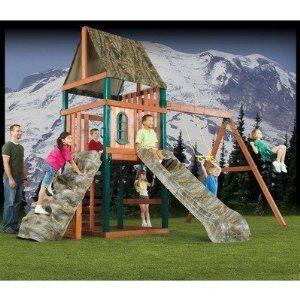 Kids Tree Fort Swingset Wood Outdoor Wooden Play Set Rock Wall Slide