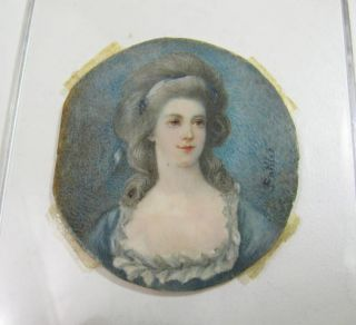 Antique Hand Painted Miniature Portrait of Lady on Celluloid Signed