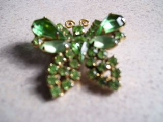 Vintage Antique WEISS BUTTERFLY PIN Light Green SIGNED Rhinestone
