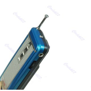 Blue Portable Belt Clip Auto Scan FM Radio Receiver with Flashlight