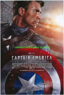 CAPTAIN AMERICA MOVIE POSTER 2011 CHRIS EVANS DS 27x40 ORIGINAL