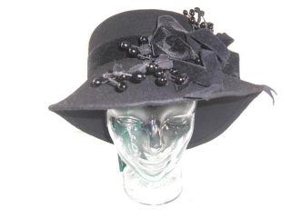 Gabriel Amar for Frank Olive Womens Black Felt Church Hat