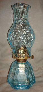 RARE Vintage 1958 Fostoria Blue Coin Carriage Coach Oil Kerosene Lamp