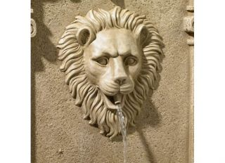 Finish Cast Resin Lion Face Indoor Outdoor Garden Wall Fountain