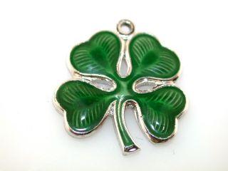 Vintage Enamel Four Leaf Clover Sterling Silver Charm Pendant