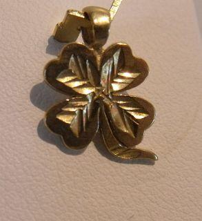 14k Gold Lucky Four Leaf Clover Charm Pendant