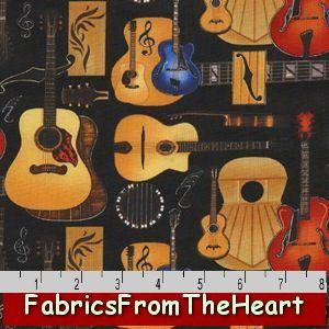 Music Folk Rock N Roll Guitars Notes Black 7 8Y Fabric