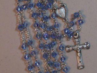 6mm Light Sapphire Blue Swarovski Crystal Pewter Rosary