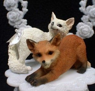 Adorable Foxes Nature Fox Wedding Cake topper dog Moon groom top