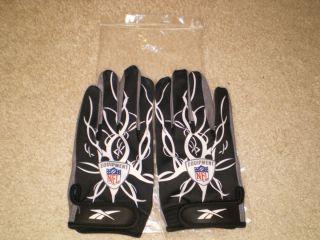 Reebok NFL Pro Mayhem Black White Griptonite Lighting Football Gloves