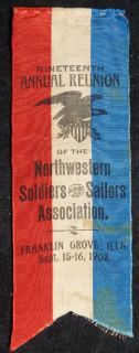 Civil War Veteran Reunion Ribbon   Illinois 1903