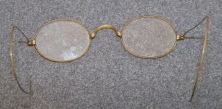ANTIQUE/VINTAGE OVAL FULL FRAME WIRE EYEGLASS FRAMES WITH CASE