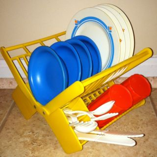 Fisher Price Fun with Food Dish Rack with Plates, Bowls, Forks, Spoons
