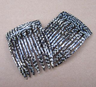 Vintage hair combs signed France Luxe faux snakeskin 1990s (S)
