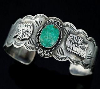 Vintage 1930s Old Pawn Sterling Silver Fred Harvey Era Turquoise Cuff