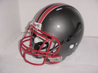 Attack Grey Large Football Helmet w Cage SD Chinstrap Black Red Stripe