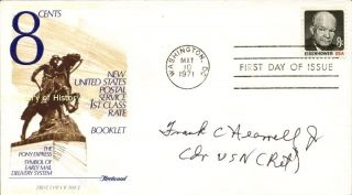 Commander Frank C Hearrell Jr First Day Cover Signed